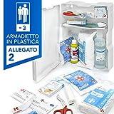 AIESI® Armadietto di pronto soccorso in plastica con ALLEGATO 2 per aziende meno 3 dipendenti # Conforme DM388/DL81 # Made in Italy