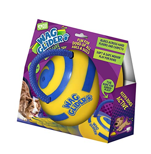 Wag Glider Deluxe–The Sliding Gliding Dog Toy That Keeps Your Dog Happy, Healthy & Safe! Comes with a Built in Squeaker & Rope Attached. Safe for Indoor Play, Great for Medium & Large Dogs of All Ages