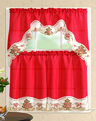 All American Collection New 3pc Christmas Holiday Design Embroidered Kitchen Curtain Set (Christmas Tree with Bells, Red/Beige)
