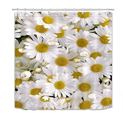 LB Pflanze Blume Gänseblümchen weiß Duschvorhang Dekor Badezimmer mit Haken wasserdichtes Polyestergewebe Anti-Schimmel 180x200