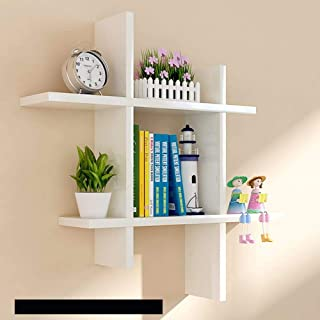 SAW SAQIB ALI WOODEN HANDICRAFTS Engineered Wood Glossy Wall Rack Shelves for Living and Bedroom Decoration (White) , Set ...