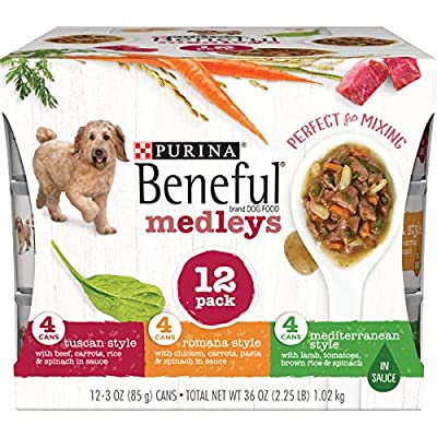 Purina Beneful Wet Dog Food Variety Pack, Medleys Tuscan, Romana & Mediterranean Style - (2 Packs of 12) 3 oz. Cans