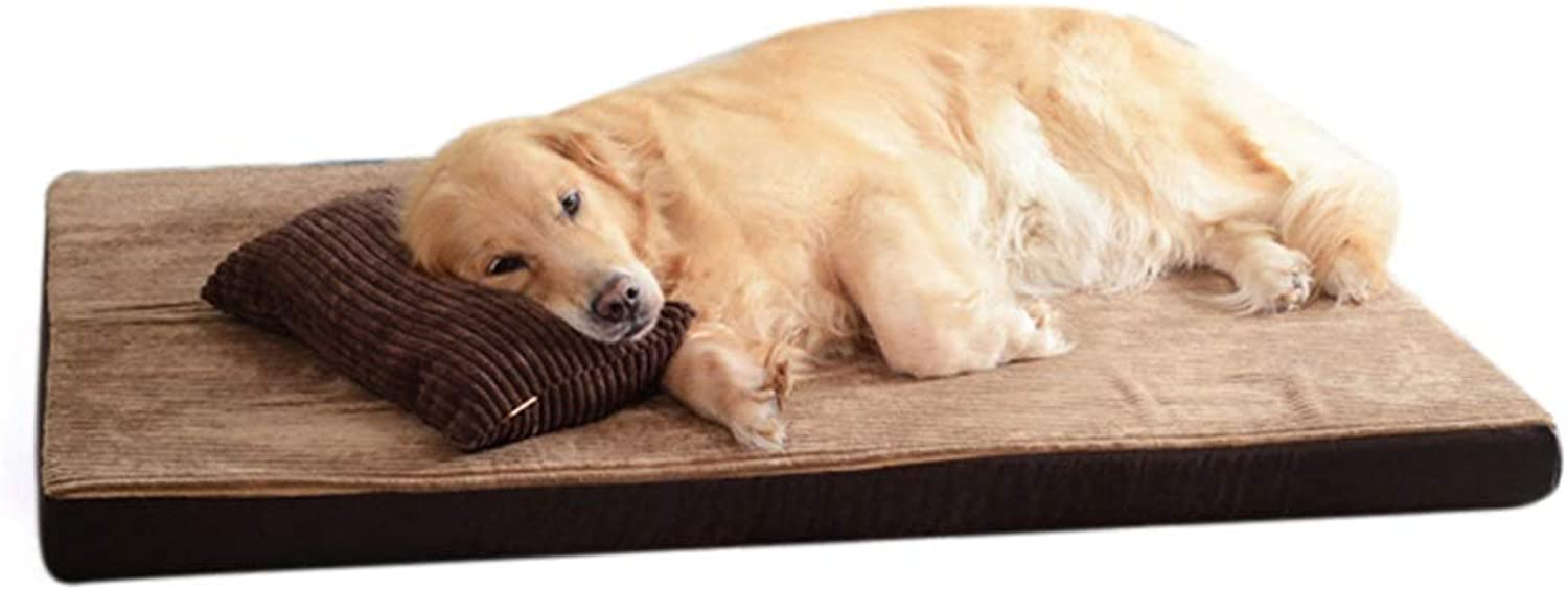 ZWYGXL Dog mat Spring and Summer Biting Resistance Kennel Medium and Large Dogs Washable Broad Comfortable Multiple Colour (color   D, Size   120x90x7cm)