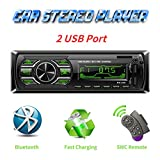Autoradio Bluetooth Mains Libres, Radio Voiture avec 2 Ports USB,4x60W Radio Voiture Support FM/USB/MP3/WMA/TF/AUX...