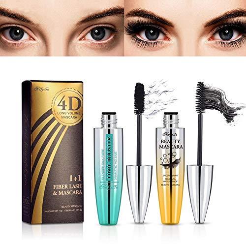 (2pcs) 4D Silk Fiber Lash Mascara Set - Waterproof Mascara + Fiber Set, Long-Lasting Thick Natural Mascara, Smudge-Proof Eyelashes, All Day Exquisitely, 1Tube