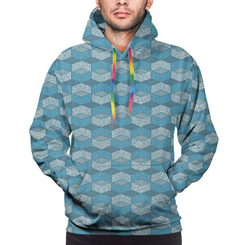 Men's Hoodies 3D Print Pullover Sweatershirt,Bohemian Ethnic Mexican Ikat Style Pattern Design with Geometrical Elements,XL