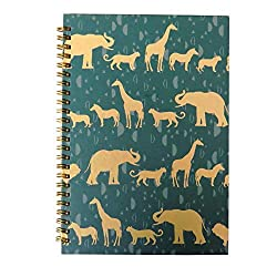 Green notepad with gold animal silhouettes