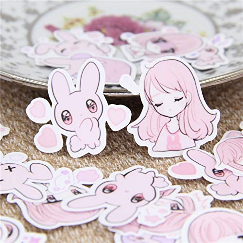 TTBH Little Girl Rabbit Sticker Decal For Phone Car Case Waterproof Laptop Bicycle Notebook Backpack Kids Toy Stickers40 Pcs/Lot