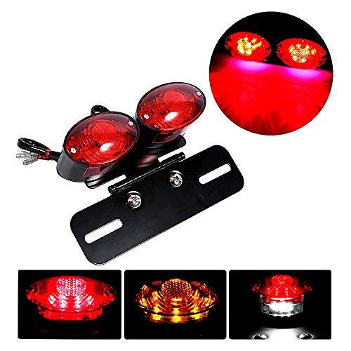 LED Rücklicht Motorrad Bremsleuchte Fahrscheinwerfer Licht Metall Retro doppelte ovale Lichter