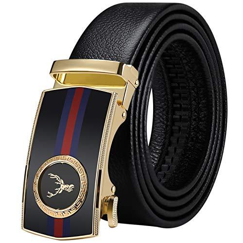 WilliamPolo Mens Leather Belt, Ratchet Belt with Automatic Sliding Buckle (Black-06, 39″-42″ Waist Adjustable)