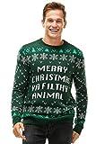 Unisex Men's Ugly Christmas Sweater Knitted Funny Fairisle Pullover Green, Medium