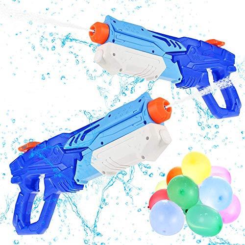 GOLDGE 2 Pack 600ml Pistola de Agua Juguetes y 500pcs Globos de Agua para Fiesta, Pistolas de Agua Soakers de Juguetes para Batalla de Agua, Playa, Piscina