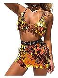 Fstrend Boho Sequins Tassels Body Chain Gold Bra Skirts Set Sexy Bikini Rave Festival Party Beach Fashion Clubwear Accessories Jewelry for Women and Girls (Gold)