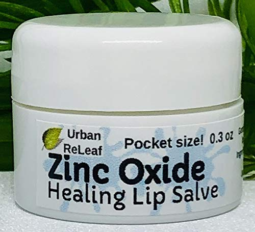 Urban ReLeaf Zinc Oxide Healing Salve ! Pocket Size! Gentle. Soothe and Protect Dry, Raw, Chapped Lips. Deeply Hydrating. Safe, No Parabens. Outdoor and Sports Protection. 100% Natural Ointment.