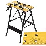 iimono117 万能 作業台 ワークベンチ [ 使用時 長さ56.5×幅62×高76cm ] / スケール 分度器 工具スペース付き DIY