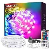 Ksipze Tiras LED 10m Luces LED RGB con Control Remoto y Fuente de Alimentación de 12V, 20 Colores y 8 Modos de Escena para la Habitación, Techo, Cocina 2 Rollos de 5m