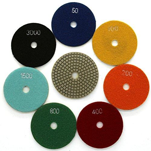 Diamond Wet 7-Step Polishing Sanding Grinding Pads 7 Pcs Set for Granite Marble Stone 4 Inch Grit 50-3000