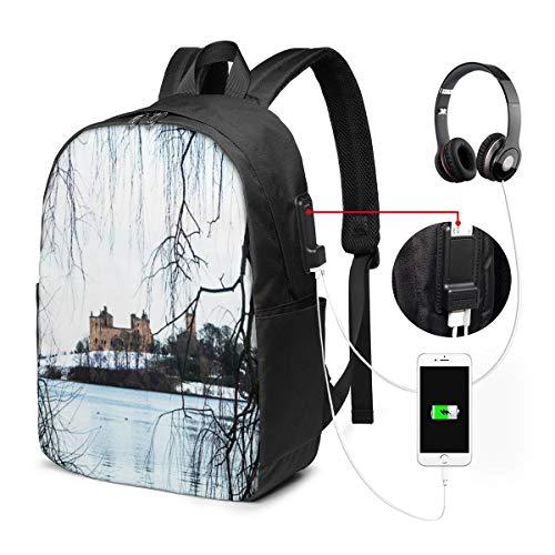Schulrucksack Mit USB Port Jungen Mädchen Teenager, Rucksack Schule Laptop Rucksack für Herren Damen Daypacks für 15,6 Zoll Laptop Rucksack Palace Loch Winter Schnee