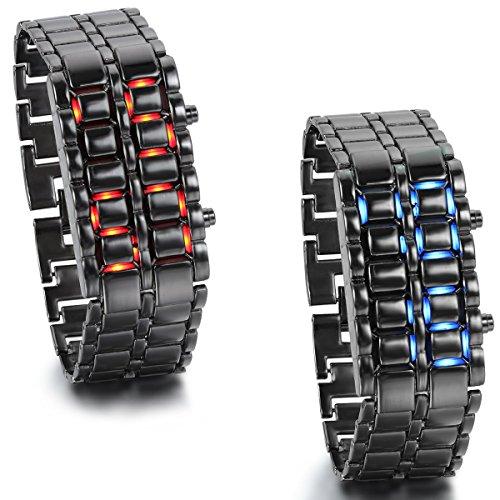 JewelryWe 2pcs Herren Armbanduhr, Blau/Rot LED Digitaluhr Uhr Sportuhr Schwarz Armband Unisex Samurai Watch
