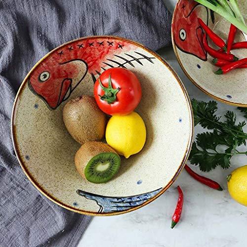 Cartoon Keramik Nudelschüssel Japanische Kreative Große Reisschüssel Geschirr Suppe Salatschüssel Ramen Große Schüssel (Color : Red, Size : 8inch)