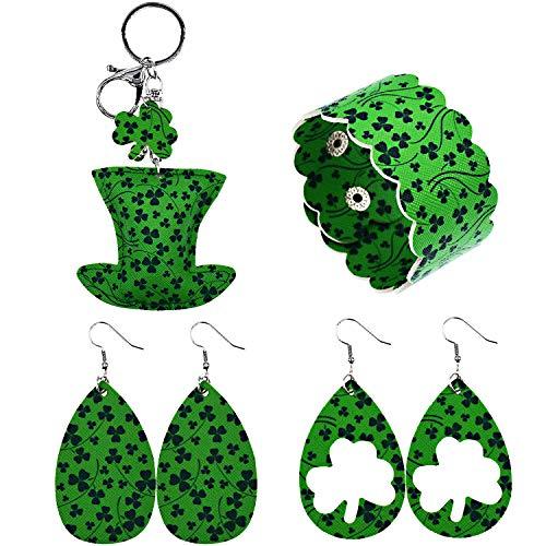 Memefood St Patrick's Day Dangle Earrings Set Teardrop Green Jewelry Accessory with Bracelet and Little Accessory 4PCS