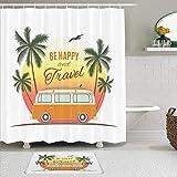 Juego de cortinas de ducha de 2 piezas con alfombra de baño antideslizante,Furgoneta de surf retro con palmeras Camping Relax Hippie Travel Be Happy Free,12 ganchos,Decoración de baño personalizada