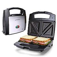 Aigostar Lamo 30RFU – Tostapane Sandwich da 800W con rivestimento antiaderente. Cottura a doppia piastra e temperatura costante. Impugnatura antiscottatura. Display led di funzionamento. Nero.