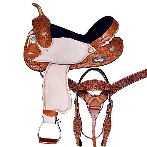 """Star Trading Company Adult Western Trail Barrel Racing Premium Leather TREELESS Horse Saddle Tack Size 12""""-18"""" Inches Seat Available (15"""" Inches)"""