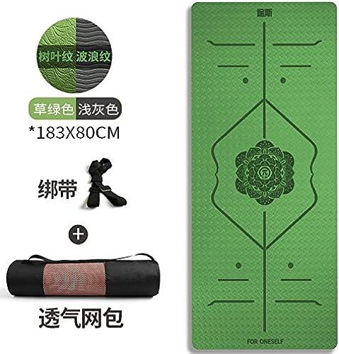 YOOMAT Large 80cm Yoga Mat Starter TPE Yoga Mat épais et sans saveur Non-Slip Fitness Mat 3 pièces, 6Mm (Starter, Deux Couleurs 80cm Niveau Ligne Herbe Réseau Vert + Packets182140