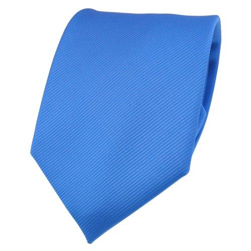 TigerTie TigerTie Designer Krawatte blau himmelblau hellblau Uni Rips - Binder Tie