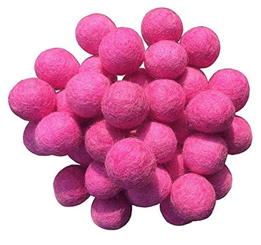Wool Felt Balls Beads Natural Felting Woolen Felted Fabric Felting for Home Decor Crafts Handcrafts DIY 50pcs 25mm(Pink)