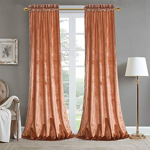 Roslynwood Room Darkening Velvet Orange Curtains for Bedroom Thermal Insulated & Moderate Blackout Rod Pocket Window Curtain for Living Room 52WX84L (2 Panels)