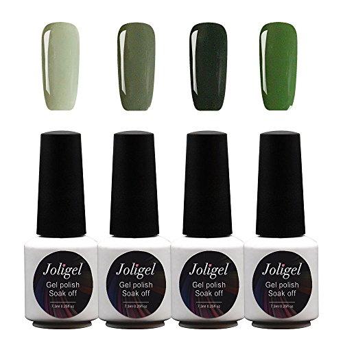 JOLIGEL Nagel Gels Lacke UV LED Nagellack Set 4pcs 7,3 ML Soak Off Semi-Permanent für Maniküre, 4 Pastellfarben, Ungiftig Naturharz, 05 (Klassische elegante grüne Serie)