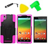 Heavy Duty Hybrid Phone Cover Case Cell Phone Accessory + Extreme Band + Stylus Pen + LCD Screen Protector + Yellow Pry Tool For ZTE ZMAX Z970 Z 970 (T-Stand Black Pink)