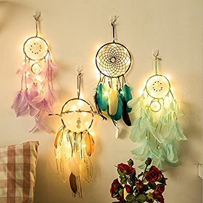 Dream Catcher Hand Made Gift, Dreamcatcher 2 Meter 20LED Lighting Girl Room Bell Bedroom Romantic Hanging Decoration, Girls Hanging Dreamcatcher Creative Present Accessories (A)