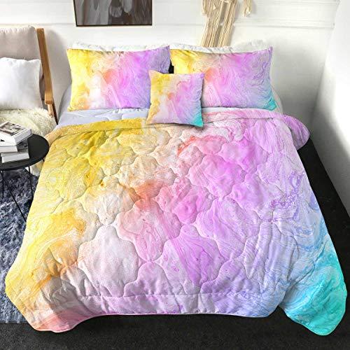 Sleepwish Colorful Marble Tie Dye Comforter Set Modern Pastel Pink Purple Yellow Green Reversible Bedding Set 4 Piece Girly Abstract Watercolor Lightweight Comforter for Kid, Teen, Teenage Girl (Twin)