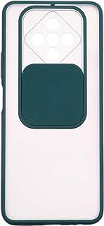 جراب خلفي سيليكون رفيع بغطاء منزلق للكاميرا لموبايل انفينيكس زيرو 8 - شفاف واخضر داكن