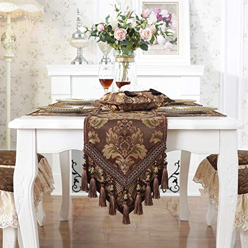 Gu3Je Exquisite US European Style Table Runner Embroider Sequin Table Runner For Wedding Hotel Dinner Party With tassel (Color : Coffee, Size : 33X296CM)