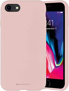 Goospery Liquid Silicone Case for Apple iPhone SE 2020 Case, iPhone 8 Case, iPhone 7 Case, Jelly Rubber Bumper Case with Soft Microfiber Lining (Pink Sand) IP8-SLC-PNK