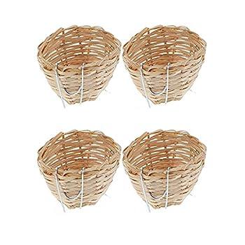 zhihaor 4 Pièces Nid d'Oiseau avec Crochets, Nid de Bambou Fait Main, Nid d'Oiseau en Bambou avec Crochets, Pet Bird Perroquet Swallow Canary Residence, Convient pour la Décoration de Jardin