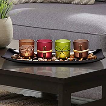 Lamorgift Home Decor Candle Holders Set for Bathroom Decorations - Candle Holder Centerpieces for Dining Room Table & Living Room Decor & Coffee Table Decor Large Tray with 4 Candle Holders