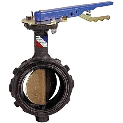 """NIBCO WD-2000-3 Series Ductile Iron Butterfly Valve with EPDM Liner and Aluminum Bronze Disc, Lever-Lock Handle, Wafer, 3"""" by NIBCO"""