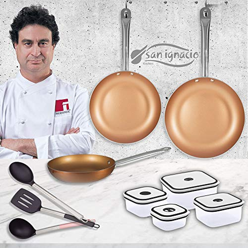 San Ignacio PK1409 Professional Chef Copper Plus Set 3 sartenes + 4...