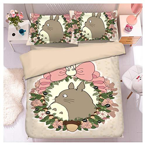 YRRA Dibujos Animados Gato Totoro Cuatro Piezas Ropa Cama, Lecho Juego Sábanas Funda Almohada Tamaño Gigante Grueso Calentar Sedoso Cómodo, Para El Dormitorio La Casa,M,King
