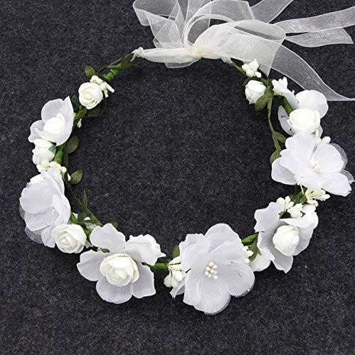 Boho Bloemenhoofdband, voor dames, bloemenkroon, slinger, hoofdband, vrouwen, bloemen, krans, kroon, haarband voor hoed, ornament, bruiloft, strand, reis, bruid, bruiloft, wit
