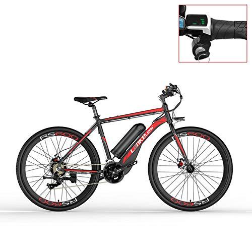 LANKELEISI Bicicleta eléctrica RS600 700C, batería de 36V 20Ah, Freno de Disco, Marco de aleación de Aluminio, Resistencia de hasta 70 km, 20-35 km/h, Bicicleta de Carretera. (Red-LED, Standard)