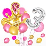MMTX Cumpleaños Globos 3 Años Rosa Dorado, Decoracion Cumpleaños Globos de Látex para Cumpleaños para Niños Niñas (3 Años)