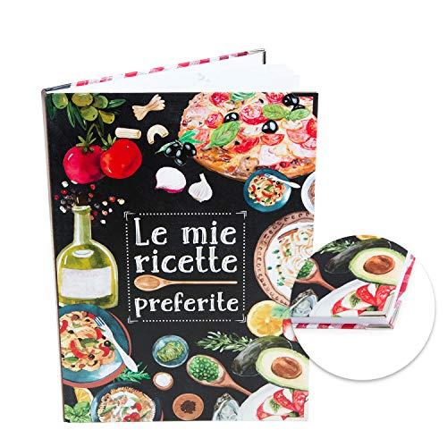 Logbuch-Verlag libro ricette ricettario A4 personalizzabile DIY vuoto italia rosso nero angoli metallici copertina rigida regalo cucina