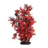 VILLCASE Plantas artificiales para acuario, decoración de pecera, decoración de pecera, plástico, color rojo, 40 cm