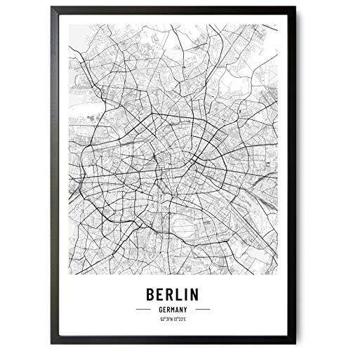 kizibi JUNOMI® Berlin Poster XL Schwarz Weiss, DIN A2 Wohnzimmer Deko, Modernes Wandbild, Berlin Bild, Wandbild ohne Rahmen, Souvenir Berlin, perfekte Geschenkidee für Berliner